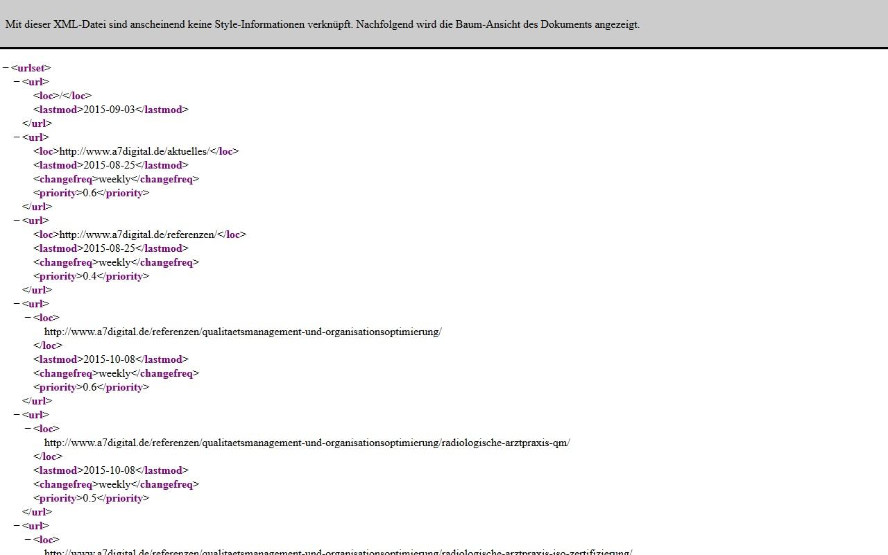 Automatisch Erzeugte Google Sitemap Im XML Format